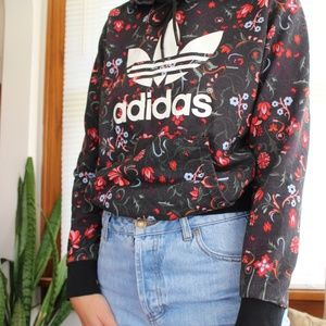 Adidas Logo Colorful Floral Hoodie Size Small